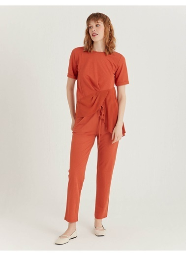 BGN Kiremit - Pli Detaylı Bluz Kiremit